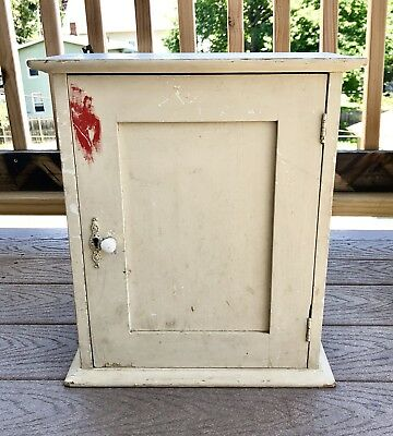 Antique White Painted Wood~ Wall Cabinet/Cupboard ~ Rustic Farmhouse Style ~
