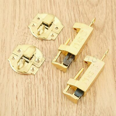 10pcs/set Antique Gold Suitcase Jewelry Box Latch Clasps w/ Chinese Old Padlock