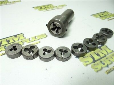 """Lot Of (9) 1"""" Od Hss Round Dies #4-36Ns To 3/8""""-24Nf W/ Holder Japan"""