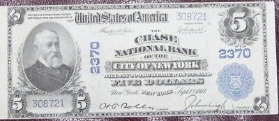1902 Series The Chase National Bank - New York City $5 Auction - Bid Start $0.99