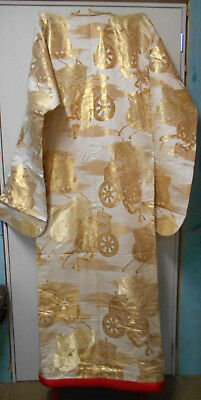 Vintage Japanese WEDDING KIMONO CREAM  GOLD EMBROIDERED WAGONS #57