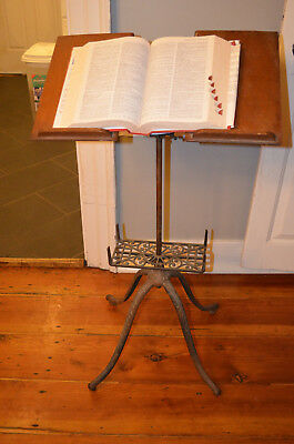 Antique 1895 Victorian Adjustable Cast Iron & Oak Bible Dictionary Stand Holder