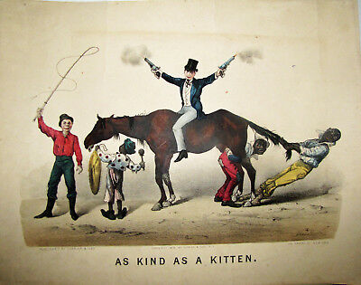 Extremely Scarce Currier Ives Horse Racing Comical 1879 As  Kind As A  Kitten