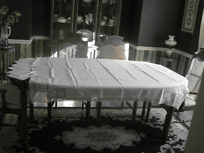 Vintage Antique, Crochet Trim Floral Filet Lace Corner, Tablecloth & 6 Napkins