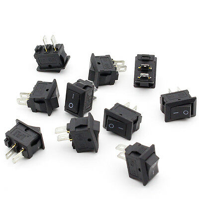 10pcs Small Mini Black On/Off Boat Rocker Switch Rectangle 10x15mm-SPST-2P> R4X2