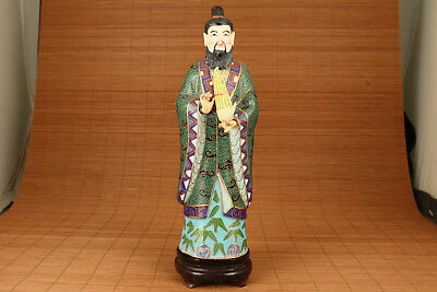 Rare Big Chinese CLOISONNE hand painting Good enough just to man Statue
