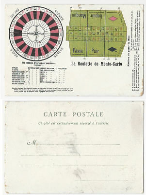 Monte Carlo Roulette Layout Postcard-circa 1900s-Red,Black,Green Inks-v.GOOD-Op