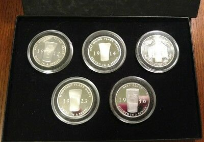5 Troy Ounce .999 Silver Coca Cola Coke Flare Glass Set In Case And Bonus Look!