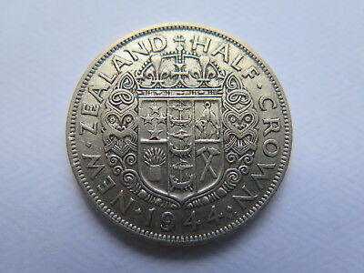 SCARCE 1944 NEW ZEALAND SILVER HALF CROWN KING GEORGE VI in VERY NICE CONDITION