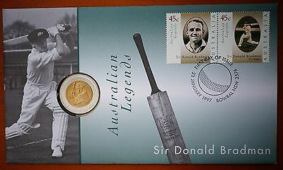 1997 Australia Sir Donald Bradman $5 Coin & 2 * 45 Cents Stamps PNC FDC