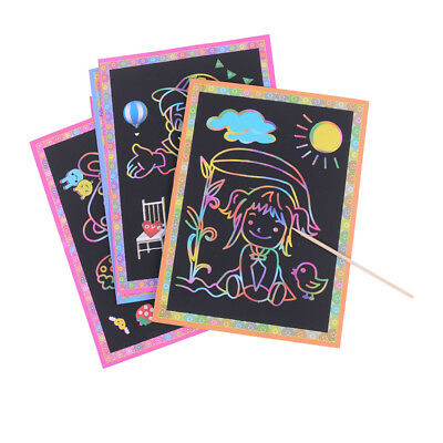 10pcs Magic Scraping Drawing Toys Two-in-One Coloring Pictures Child Painting EF