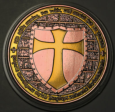 Knights Templar Crusader Souvenir Medal /Coin Copper Enameled Prooflike