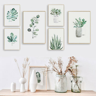 Watercolor Plant Leaf canvas Nordic Poster Wall Art Print Scandinavian Decor
