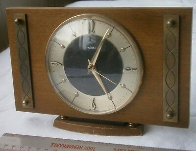 RETRO Vintage Metamec Electric Wood & Metal Surround Mantel Clock Mantle 60's