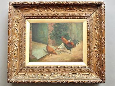 19th Century Oil on Canvas James Clark Poultry in Farmyard