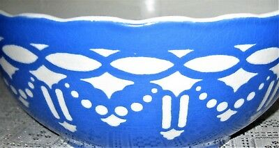 VILLEROY & BOCH MIXING BOWL Antique Blue White 6763 Germany 1800s FREE SHIPPING!