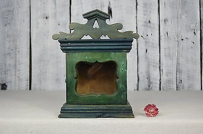 Antique hanging wall-mounted wooden box for clock / Handmade old wooden stand