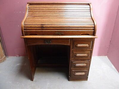 SMALL CLASSIC ANTIQUE 1930'a OAK ROLL TOP BUREAU DESK 4 DRAWERS