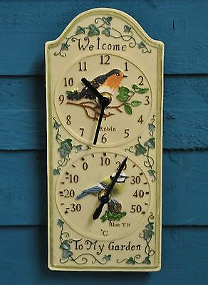 Wall Clock Thermometer Garden Clock Robin & Blue Tit Design Outside In Designs