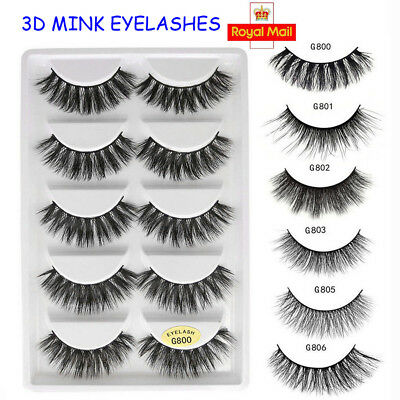 5 Pairs 3D Mink Hair False Eyelashes Wispy Cross Long Lashes Makeup Soft Hair UK