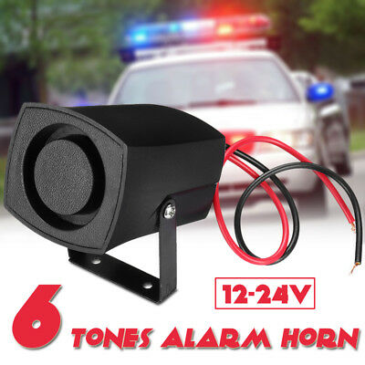 6 Tones Car Police Fire Alarm Horn 12-24V Warning Loud Sound Truck Boat Siren