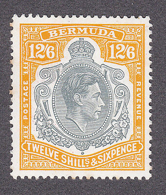 Bermuda 1938  12/6d grey/yellow perf  approx 13 mint hinged