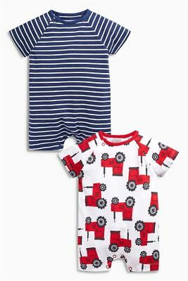BNWT baby boys 2pk  Tractors Romper suits  3-6-9, 9-12,12-18  months NEXT
