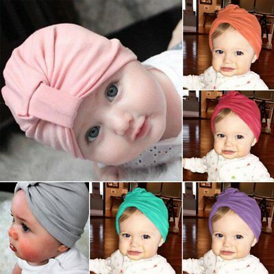 Baby Girls Turban Bow Knot Head Wrap Bunny Rabbit Ear Hat Cotton Cap