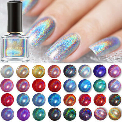 6ml BORN PRETTY Holographic Silver Nail Polish Glitter Nail Art Varnish Decor