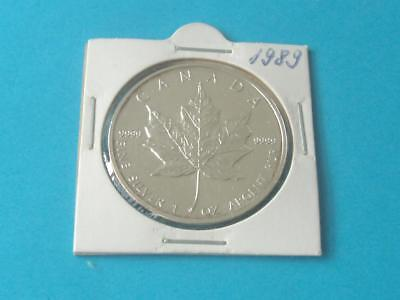 SILVER MAPLE 1989 CANADA  FIVE DOLLAR  .9999 SILVER 1oz COIN very nice   LOT 40