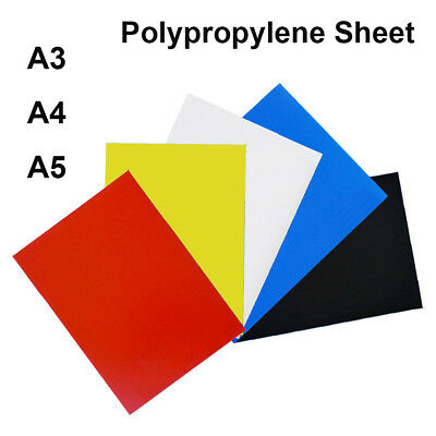 A3 A4 A5 Coloured Polypropylene Plastic Sheet Making Arts DIY Crafts 0.5mm Thick
