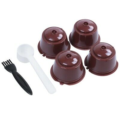 4pcs Dolce Gusto Plsatic Refillable Coffee Capsule with Spoon Brush 200 Tim G7D1