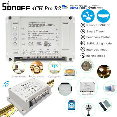 Sonoff 4CH Pro R2 4 Gang Din Rail Mount WiFi Smart Switch Timer Voice Control G1