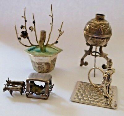 4 x Vintage Silver and White Metal Miniature Figures / Items etc