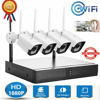 4CH 1080P Wireless WIFI Camera NVR ONVIF CCTV Security System Surveillance Kits
