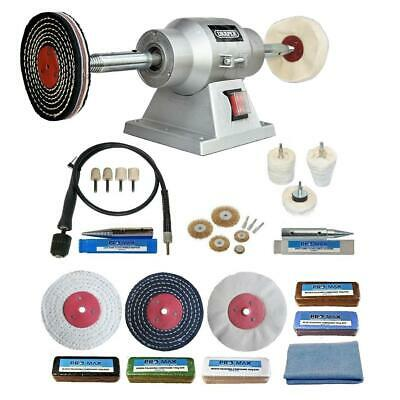 "6"" Bench Grinder 150W Bench Polisher With 4"" Deluxe Metal Polishing Kit Machine"