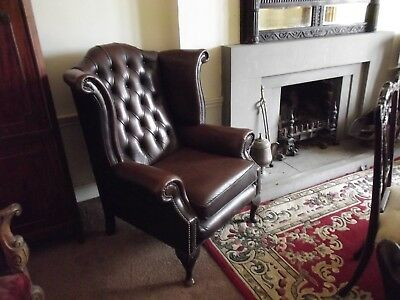 Two Georgian Style Leather wing chairs