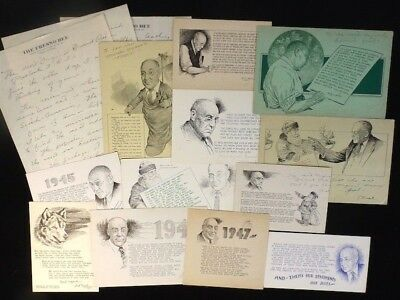 13 pc. Lot 1940s Cartoon Art A. Buel Drawn Hand-Signed Christmas Cards w/ Letter