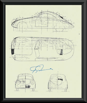 Ferdinand Porsche Autograph Reprint Diagram of 114K1 On Fine Linen Paper P061