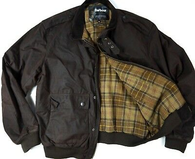BARBOUR A955 WAX FLYER brn SYLKOIL TARTAN BOMBER jacket oiled waxed coat mens XL