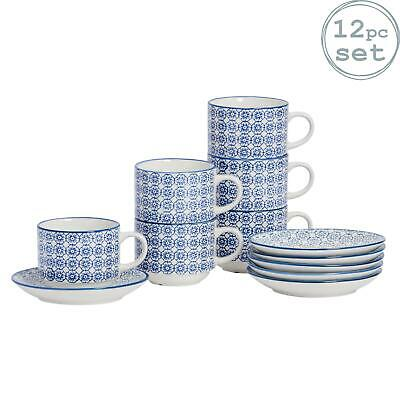Patterned Stacking Cups and Saucer Tea Coffee Mug Set - Blue Flower Design - x6
