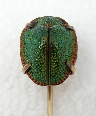 Antique Victorian 10K Yellow Gold & Scarab Beetle Stickpin Egyptian Revival