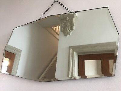 Vintage Frameless Mirror Bevelled Scalloped Bevelling Original Chain 64x36cm