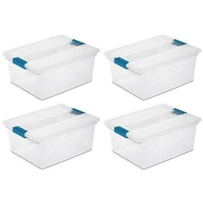 Sterilite 19658604 Deep File Clip Box Clear Storage Container 4 PK (Open Box)