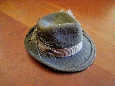 Vintage Mini Stetson Sales Sample Gray Felt Fedora With Feather - No Box