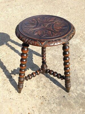 Antique Victorian Oak  Stool With Bobbin Turned Legs And Carved Seat