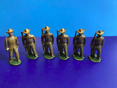 Old Vtg Collectible Lot Of 6 Lead Cast Brown Uniformed Soldiers W/ One Commander