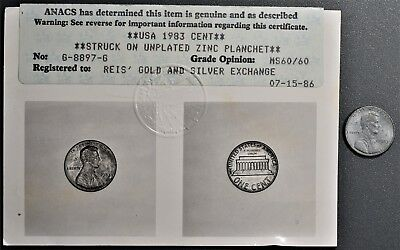 1983 Lincoln Cent Error Coin, Struck On Unplated Zinc Planchet, Anacs Ms60, Gb83