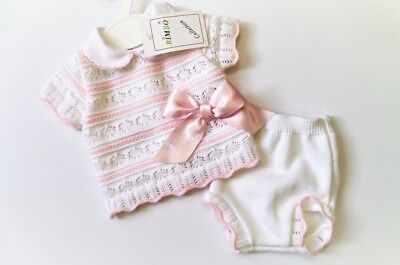 Baby Girls  Knitted Spanish Romany Style 2 piece set Jam pants Pink 0-3 3-6 6-9m