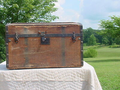 Antique Trunk by MM Secor  Pat'd 1869 As Much As 149  Years Years Old  As Found